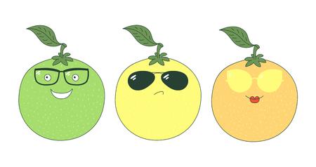 Set van hand getrokken leuke grappige stickers met gele, oranje en groene grapefruits dragen verschillende bril. Geïsoleerde objecten op witte achtergrond. Vectorillustratie Ontwerpconcept voor kinderen.
