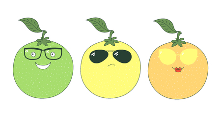 Set of hand drawn cute funny stickers with yellow, orange and green grapefruits wearing different glasses. Isolated objects on white background. Vector illustration Design concept for children.