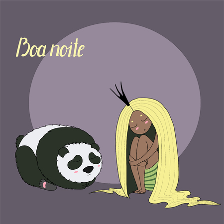 Hand drawn vector illustration of sleeping dark skinned princess with long hair and panda, with Portuguese text Boa noite (Good night). Isolated objects. Design concept for kids -poster, T-shirt print