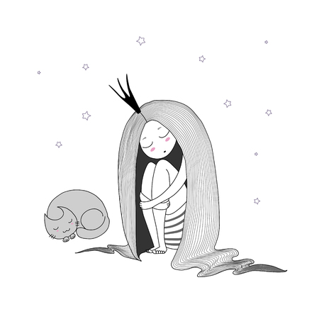 Hand drawn vector illustration of a sleeping princess with long hair and cat among the stars. Isolated objects on white background. Design concept for children - postcard, poster, T-shirt print