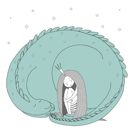 Hand drawn vector illustration of a sleeping princess with long hair and dragon among the stars. Isolated objects on white background. Design concept for children - postcard, poster, T-shirt print