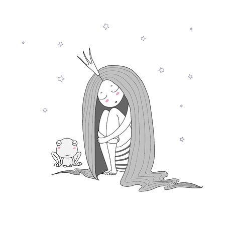 Hand drawn vector illustration of a sleeping princess with long hair and frog among the stars. Isolated objects on white background. Design concept for children - postcard, poster, T-shirt print