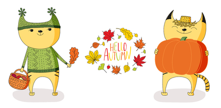 anthropomorphic: Hand drawn vector illustration of cute cats, holding big pumpkin and basket with mushrooms, with wreath of leaves and text Hello Autumn. Isolated objects on white background. Design concept for kids.