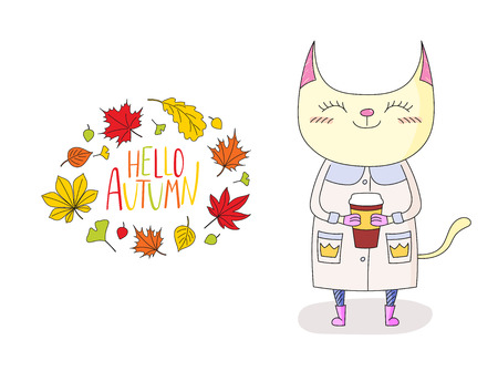 anthropomorphic: Hand drawn vector illustration of cute cat in a warm coat and boots, holding paper cup, with wreath of leaves and text Hello Autumn. Isolated objects on white background. Design concept for kids.