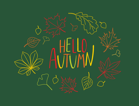 Hand drawn vector illustration of a wreath of colourful autumn leaves with written text Hello Autumn. Isolated objects on green background. Design concept for change of seasons.