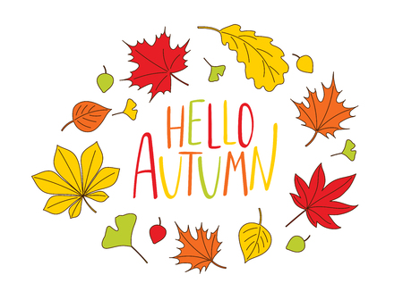 Hand drawn vector illustration of a wreath of colourful autumn leaves with written text Hello Autumn. Isolated objects on white background. Design concept for change of seasons. Illustration