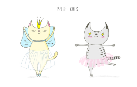 Hand drawn vector doodles of cute funny cats dancing ballet, with text. Isolated objects on white background. Design concept for children - poster, postcard, sticker, t-shirt print.