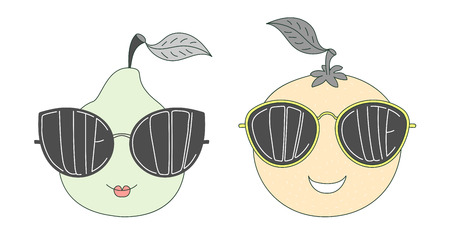 Hand drawn vector illustration of a funny pear and orange in big sunglasses with words Cute and Cool written inside them. Isolated objects on white background. Design concept for children. Illustration