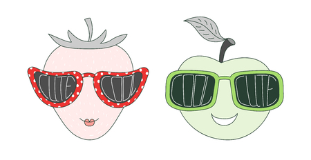 Hand drawn vector illustration of a funny strawberry and apple in big sunglasses with words Cute and Cool written inside them. Isolated objects on white background. Design concept for children.