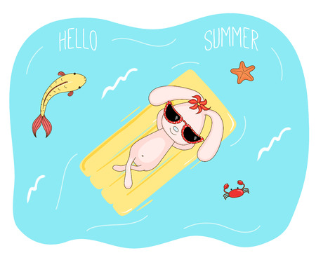 Hand drawn vector illustration of a cute bunny in sunglasses floating in the sea on inflatable air mattress, with fish, starfish and crab, text Hello Summer. Isolated objects. Design concept children