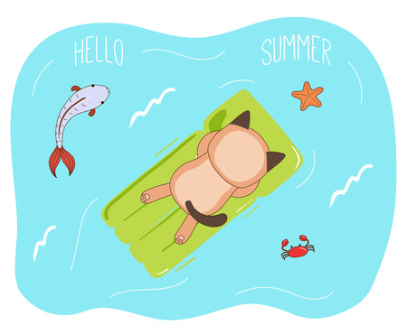 Hand drawn vector illustration of a cute cat in sunglasses floating in the sea on inflatable air mattress, with fish, starfish and crab, text Hello Summer. Isolated objects. Design concept children. Illustration