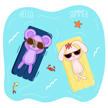 Hand drawn vector illustration of a koala and bunny in sunglasses floating in the sea on inflatable air mattresses, with fish, starfish and crab, text Hello Summer. Isolated objects. Design concept.
