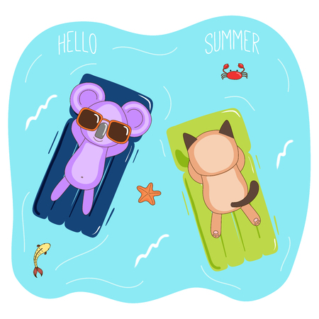 Hand drawn vector illustration of a koala and cat in sunglasses floating in the sea on inflatable air mattresses, with fish, starfish and crab, text Hello Summer. Isolated objects. Design concept.