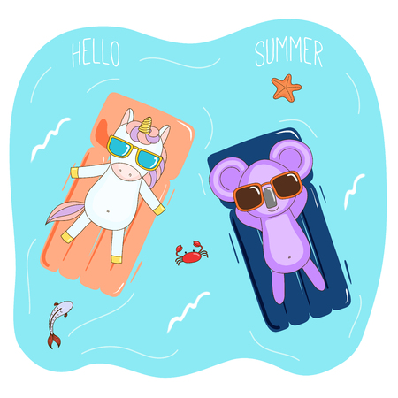 Hand drawn vector illustration of a koala and unicorn in sunglasses floating in the sea on inflatable air mattresses, with fish, starfish and crab, text Hello Summer. Isolated objects. Design concept. Illustration