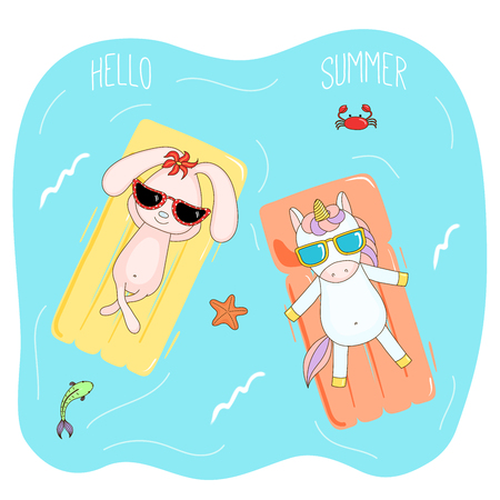 Hand drawn vector illustration of a unicorn and bunny in sunglasses floating in the sea on inflatable air mattresses, with fish, starfish and crab, text Hello Summer. Isolated objects. Design concept. Illustration