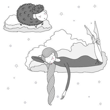 Hand drawn vector illustration of a sleeping girl and sheep floating on the clouds among the stars. Isolated objects on white background. Design concept for children - postcard, poster, T-shirt print Illustration