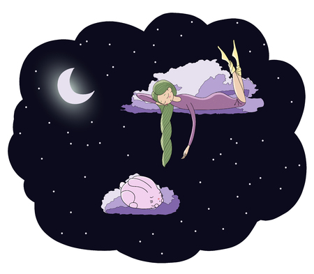 Hand drawn vector illustration of a sleeping girl and rabbit floating on the clouds among the stars under the moon. Isolated objects. Design concept for children - postcard, poster, T-shirt print.