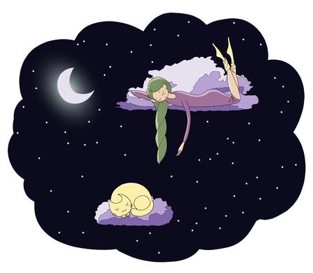 Übergeben Sie die gezogene Vektorillustration eines schlafenden Mädchens und der Katze, die auf die Wolken unter den Sternen unter dem Mond schwimmen. Isolierte Objekte. Gestaltungskonzept für Kinder - Postkarte, Poster, T-Shirt Druck.