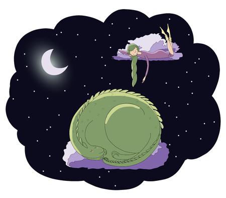 잠자는 소녀와 달에서 별 가운데 구름에 떠있는 용의 손으로 그린 벡터 그림. 격리 된 개체입니다. 어린이 - 엽서, 포스터, t 셔츠 인쇄 디자인 개념.