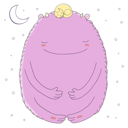 Bergeben Sie gezogene Vektorillustration des netten schlafenden Monsters und oben gekräuselte Katze mit Mond und Sternen. Isolierte Objekte auf weißem Hintergrund. Gestaltungskonzept für Kinder - Postkarte, Poster, T-Shirt Druck. Standard-Bild - 88892225