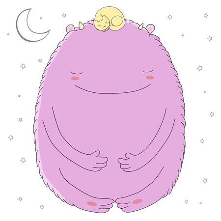 Hand getrokken vectorillustratie van schattige slapende monster en opgerold kat met maan en sterren. Geïsoleerde objecten op witte achtergrond. Ontwerpconcept voor kinderen - briefkaart, poster, T-shirt afdrukken.
