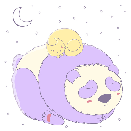 Hand drawn vector illustration of cute sleeping panda and curled up cat with moon and stars. Isolated objects on white background. Design concept for children - postcard, poster, T-shirt print.