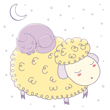 Hand drawn vector illustration of cute sleeping sheep and curled up cat with moon and stars. Isolated objects on white background. Design concept for children - postcard, poster, T-shirt print. Ilustração