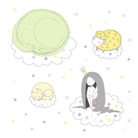 귀여운 재미 손으로 그려진 된 벡터 일러스트 레이 션의 드래곤, 고양이, 양 및 별 가운데 구름에 떠있는 공주 웅크 리고 자. 흰색 배경에 고립 된 개체
