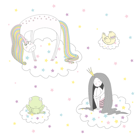 Hand drawn vector illustration of a cute funny unicorn, duck, frog and princess with long hair floating on clouds among stars, sleeping. Isolated objects on white background. Design concept for kids.