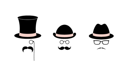 Retro set of simple vector icons with various moustaches, top hat, bowler hat, fedora hat, glasses, monocle and pince-nez. Isolated objects on white background. Photo booth design elements collection.