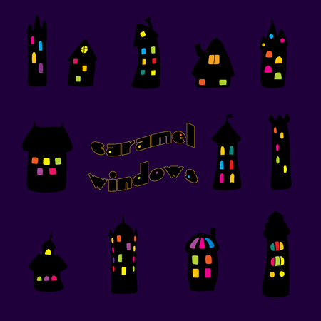 Collection of hand drawn simple vector doodles of cartoon black houses at night with brightly lit windows of different colours, with text Caramel windows. Isolated objects. Design elements.