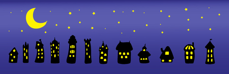 Collection of hand drawn simple vector doodles of cartoon black houses at night with brightly lit yellow windows under the moon and stars. Isolated objects. Design elements.