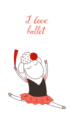 Hand drawn funny poster with a cute cartoon sheep ballerina in a tutu and handwritten text I love ballet. Isolated objects on white background. Design concept for kids, dancing. Vector illustration.