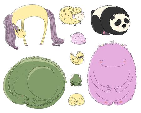眠っているかわいい動物のベクトル イラストを手描きのセット: ウサギ、猫、ドラゴン、アヒル、カエル、大きな友好的なモンスター、パンダ、羊