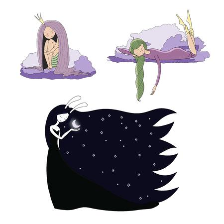 귀여운 잠자는 여자의 손으로 그려진 된 벡터 일러스트 세트 : 밤 가운 및 양말, 긴 머리를 가진 공주, 토끼 귀에 달 여신. 격리 된 개체입니다. 어린이 일러스트