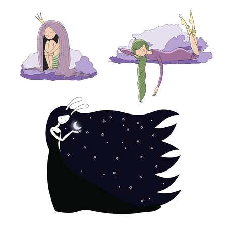 Set of hand drawn vector illustrations of cute sleeping girls: in a night gown and socks, princess with long hair, moon goddess with bunny ears. Isolated objects. Design elements for children.