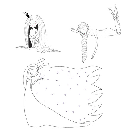 Set of hand drawn vector illustrations of cute sleeping girls: in a night gown and socks, princess with long hair, moon goddess with bunny ears. Unfilled outlines. Design elements for children.