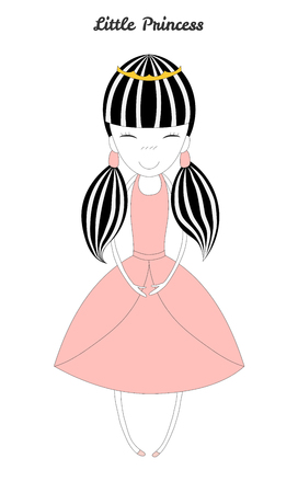 Hand drawn vector illustration of a little princess with her hair in pig tails, in a crown and pink dress, with text Little princess. Isolated objects on white background. Design concept for girls.