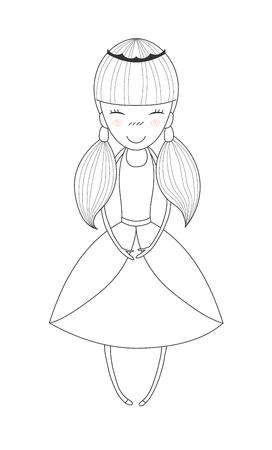 クラウンと本文リトル プリンセスのドレス、ブタの尾で彼女の髪と笑顔のリトル プリンセスの描かれたベクトル イラストを手します。白い背景の  イラスト・ベクター素材