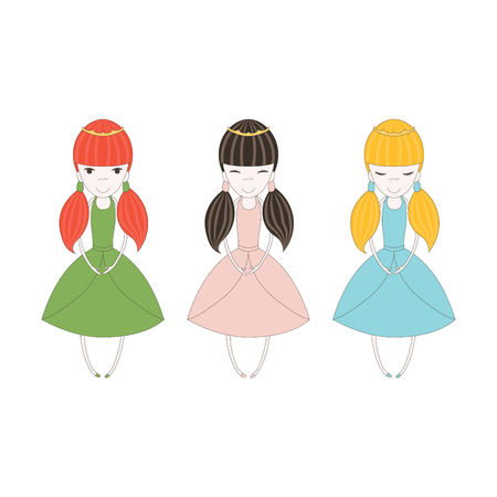 Hand drawn vector illustration of three little colorful princesses with pig tails, in crowns and dresses, with small hands and feet. Isolated objects on white background. Design concept for girls