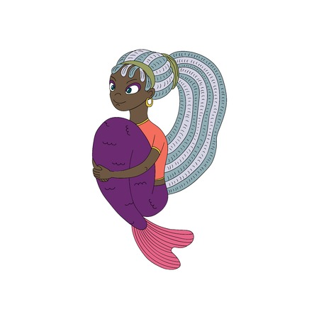 Hand drawn vector illustration of a funny smiling teenage dark skinned mermaid with dreadlocks, in a t-shirt, with arms around her tail. Isolated objects on white background. Design concept for girls.