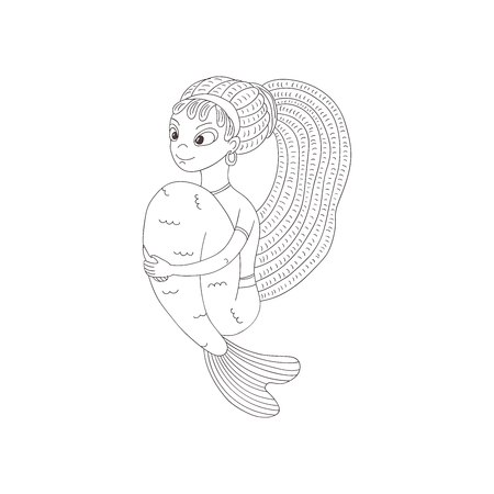 Hand drawn vector illustration of a funny smiling teenage mermaid with dreadlocks, in a t-shirt, with arms around her tail. Isolated objects on white background. Design concept for girls. Иллюстрация