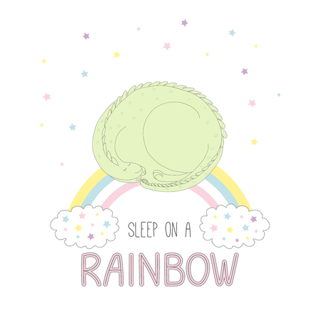 Hand drawn vector illustration of a cute curled up dragon sleeping on a rainbow, with clouds and stars, text Sleep on a rainbow. Isolated objects on white background. Design concept for children.
