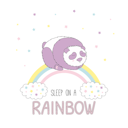 Hand drawn vector illustration of a cute panda sleeping on a rainbow, with clouds and stars, text Sleep on a rainbow. Isolated objects on white background. Design concept for children. Illustration