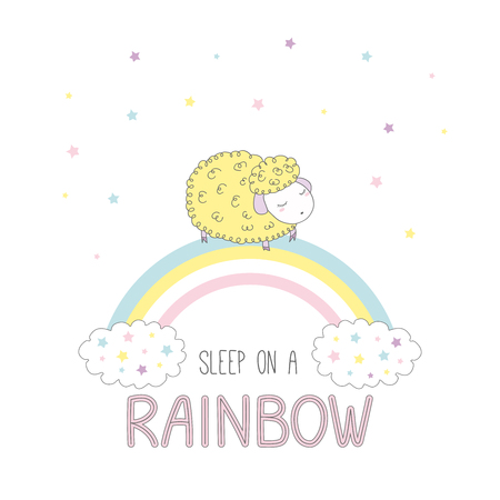 Hand drawn vector illustration of a cute sheep sleeping on a rainbow, with clouds and stars, text Sleep on a rainbow. Isolated objects on white background. Design concept for children.