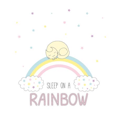 丸くなって眠っている虹、雲と星と虹のテキスト睡眠猫かわいいの描画ベクトル イラストを手します。白い背景の上の孤立したオブジェクト。子供