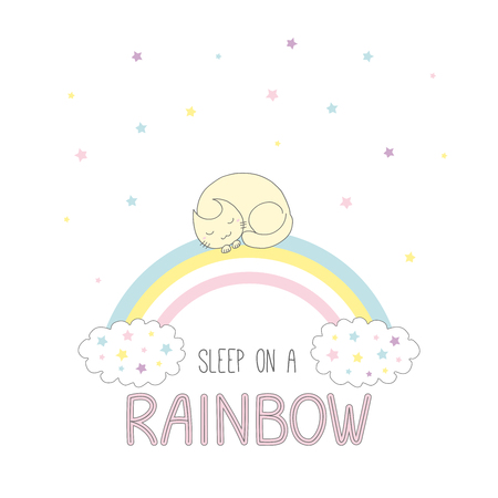 Hand drawn vector illustration of a cute curled up cat sleeping on a rainbow, with clouds and stars, text Sleep on a rainbow. Isolated objects on white background. Design concept for children.