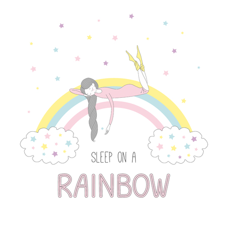 Hand drawn vector illustration of a cute girl with braided hair sleeping on a rainbow, with clouds and stars, text Sleep on a rainbow. Isolated objects on white background. Design concept for children Illusztráció