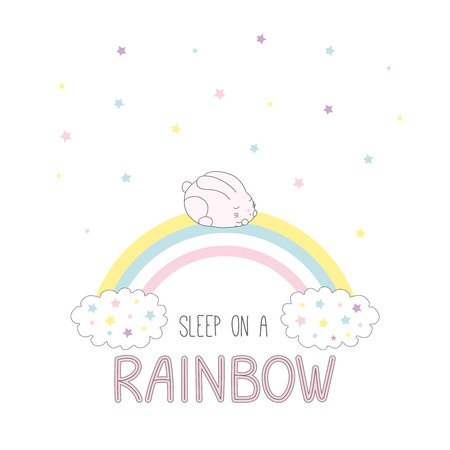 Hand drawn vector illustration of a cute bunny sleeping on a rainbow, with clouds and stars, text Sleep on a rainbow. Isolated objects on white background. Design concept for children.