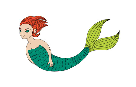 Hand drawn vector illustration of a smiling teenage mermaid swimming in the sea, with short ginger hair and green eyes. Isolated objects on white background. Design concept for girls.
